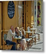 A Man A Woman A French Cafe Metal Print by Allen Sheffield