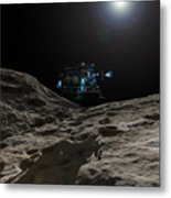 A Manned Asteroid Lander Approaches Metal Print