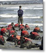 A Navy Seal Instructor Assists Students Metal Print