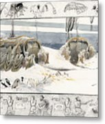 A Painting Depicts Ice Age People Metal Print