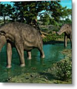 A Pair Of Platybelodon Grazing Metal Print by Walter Myers