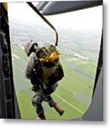 A Paratrooper Executes An Airborne Jump Metal Print