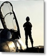 A Pilot Prepares To Enter His F-14b Metal Print