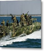 A Riverine Command Boat Conducts Metal Print
