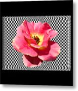A Rose With A Checkered Background Metal Print