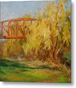 A Secret Little Red Bridge Metal Print