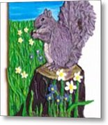 A Squirrel At His Snack Metal Print