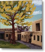 A Tree Grows In The Courtyard, Palace Of The Governors, Santa Fe, Nm Metal Print
