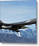 A U.s. Air Force B-1b Lancer Departs Metal Print by Stocktrek Images