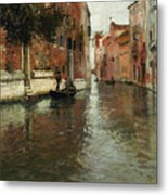 A Venetian Backwater  Metal Print by Fritz Thaulow