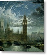 A View Of Westminster Abbey And The Houses Of Parliament Metal Print