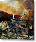 A Village In Autumn Metal Print