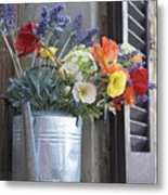 A Water Pitcher Holding Flowers Metal Print by Keenpress