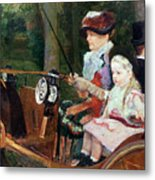 A Woman And Child In The Driving Seat Metal Print by Mary Stevenson Cassatt