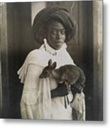 A Young Kenyan Woman Holds Her Pet Deer Metal Print by Underwood And Underwood