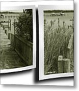 Abandoned Pier - Gently Cross Your Eyes And Focus On The Middle Image Metal Print