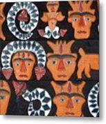 Aboriginal Painted Wood Carvings Metal Print