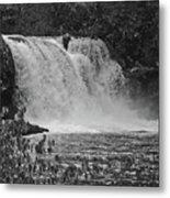 Abrams Falls Cades Cove Tn Black And White Metal Print