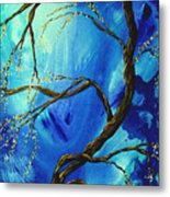Abstract Art Asian Blossoms Original Landscape Painting Blue Veil By Madart Metal Print