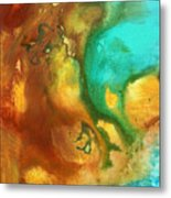 Abstract Art Colorful Turquoise Rust River Of Rust I By Madart  Metal Print