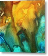 Abstract Art Colorful Turquoise Rust River Of Rust IIi By Madart Metal Print