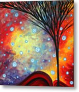 Abstract Art Whimsical Landscape Painting Morning Bliss By Madart Metal Print