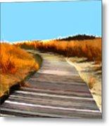 Abstract Beach Dune Boardwalk Metal Print