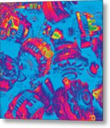 Abstract Blue-red Multi Colors Junk Metal Print