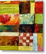 Abstract Color Study With Checkerboard And Stripes Metal Print
