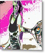 Abstract Female Tennis Player Metal Print