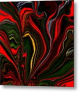Abstract- Red Flower Garden Metal Print