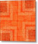 Abstract Window On Orange Wall Metal Print