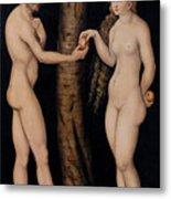 Adam And Eve In The Garden Of Eden Metal Print