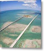 Aerial Of Seven Mile Bridge At Extreme Metal Print