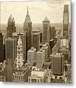 Aerial View Philadelphia Skyline Wth City Hall Metal Print