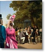 Afghan Hound-politicians In The Tuileries Gardens  Canvas Fine Art Print Metal Print