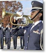 Airman Plays Taps During The Veterans Metal Print by Stocktrek Images