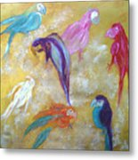 All Dressed Up - Parrots Metal Print