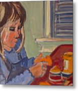 Allie And Play Dough Metal Print