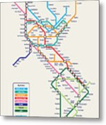 Americas Metro Map Metal Print