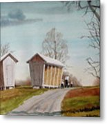 Amish Corncribs Metal Print