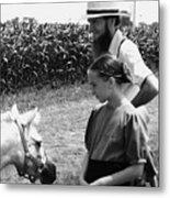 Amish Girl And Pony Metal Print