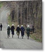 Amish People Visiting Middle Creek Metal Print