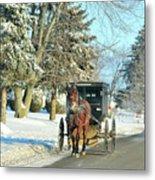 Amish Winter Metal Print by David Arment