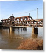 Amtrak California Crossing The Old Sacramento Southern Pacific Train Bridge . 7d11674 Metal Print