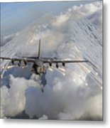 An Ac-130u Gunship Jettisons Flares Metal Print