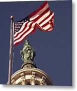 An American Flag And The Statue Metal Print