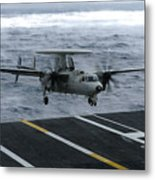An E-2c Hawkeye Lands Aboard Metal Print by Stocktrek Images