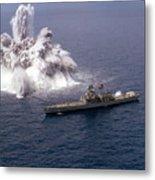 An Explosive Charge Is Detonated Metal Print by Stocktrek Images
