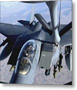 An F-15e Strike Eagle Refuels Over Iraq Metal Print